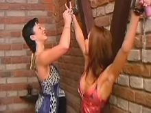 Lesbian babes play with handcuffs