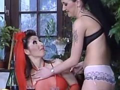 Beautiful lesbian chick seduces sexy lady in red